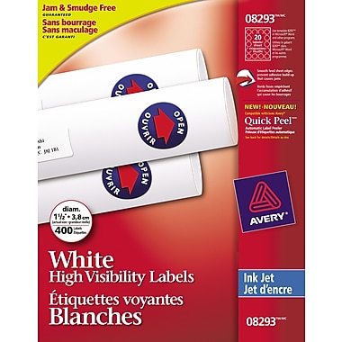 Avery High-Visibility Round White Inkjet Labels, 1-1/2