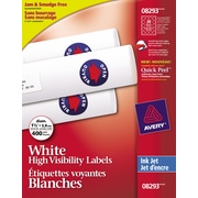 "Avery® High-Visibility Round White Inkjet Labels, 1-1/2"" Diameter, 400/Pack, (08293)"