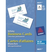 """Avery® Perforated Inkjet Business Cards, 3-1/2"""" x 2"""", White, 250/Pack, (08371)"""
