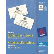 """Avery® Perforated Inkjet Business Cards, 3-1/2"""" x 2"""", Ivory, 250/Pack, (08376)"""