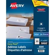 """Avery Easy Peel White Laser Address Labels, 2-5/8"""" x 1"""", 3,000/Pack, (8460)"""