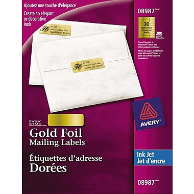 Avery® Gold Foil Inkjet Mailing Labels, 2-1/4