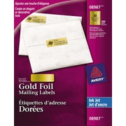 """Avery® Gold Foil Inkjet Mailing Labels, 2-1/4"""" x 3/4"""", 300/Pack, (08987)"""
