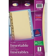 "Avery® 11102 Intercalaires insérables, blancs, 5-1/2"" x 8-1/2"", 5 onglets"