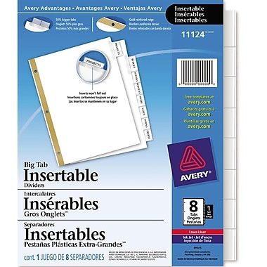Avery® Big Tab™ Insertable Dividers for Laser and Inkjet Printers, 8 Tabs, Clear, (11124)