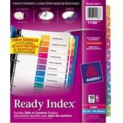 Avery® 11188 Intercalaires Ready Index avec table des matières, onglets couleurs variées,  1-10, 6/pqt