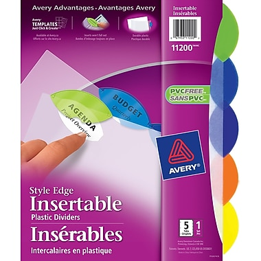 Avery® Style Edge Plastic Insertable Dividers for Laser and Inkjet Printers, 5 Tabs, Multi-colour, (11200)