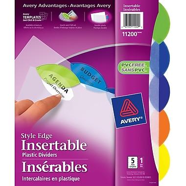 Avery® 11200 Intercalaires insérables Style Edge, couleurs variées, 5 onglets