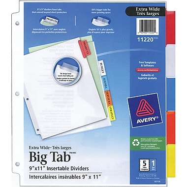 Avery® Big Tab™ Insertable Dividers for Laser and Inkjet Printers, 9