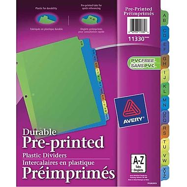 Avery® 11330 Intercalaires préimprimés en plastique durable, A-Z, couleurs variées, 12 onglets