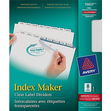Avery® 11437 Intercalaires Index Maker, étiquettes transp. Easy Apply, blancs, 8 onglets/jeu , 5/pqt