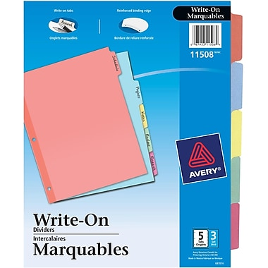 Avery® Plain Tab Write On Dividers, 5 Tabs, 3 sets, Multi-colour, (11508)