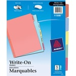 Avery® 11508 Intercalaires Write-On, onglets marquables, couleurs variées, 5 onglets, 3/pqt