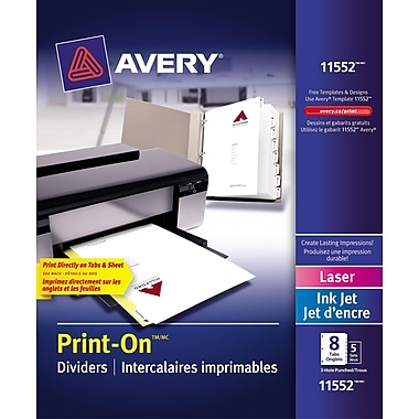 AveryMD – Intercalaires imprimables Print-On, blanc, 8 onglets/ens, 5 ens/pqt