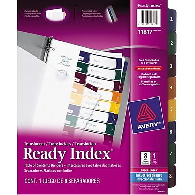Avery® Ready Index® Translucent Table of Content Dividers for Laser and Inkjet Printers, 8 Tabs, Multi-colour, (11817)