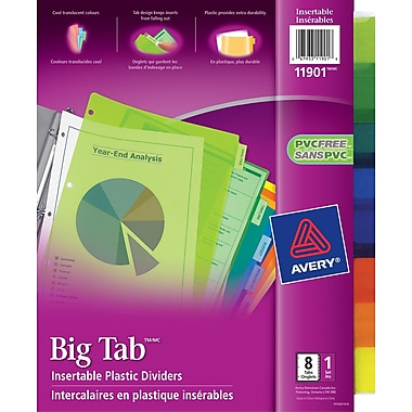 Avery® Big Tab™ Insertable Plastic Dividers for Laser and Inkjet Printers, 9-1/4