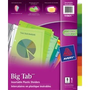 "Avery® Big Tab™ Insertable Plastic Dividers for Laser and Inkjet Printers, 9-1/4"" x 11-1/8"", 8 Tabs, Multi-colour, (11901)"
