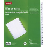 Staples® Preprinted 26-50, Punched Tab Dividers, White