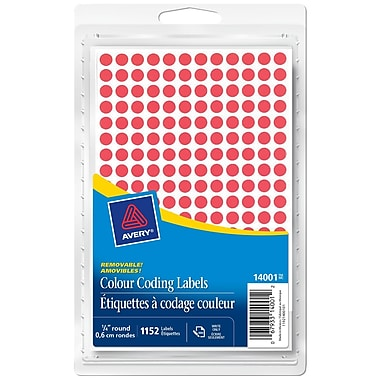 Avery® Red Removable Round Colour-Coding Labels, 1/4