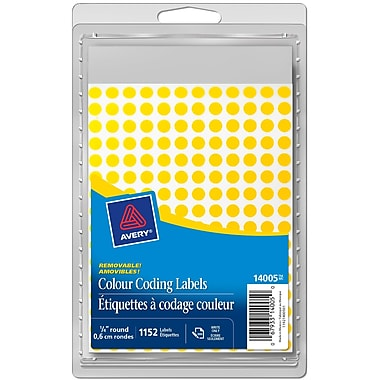 Avery® Yellow Removable Round Colour-Coding Labels, 1/4