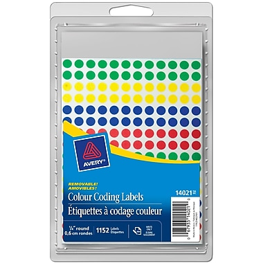 Avery® Assorted Removable Round Colour-Coding Labels, 1/4