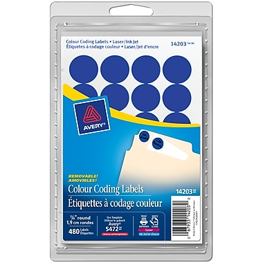 Avery® Blue Print or Write Removable Round Colour-Coding Labels, 3/4