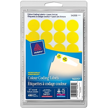 Avery® Yellow Print or Write Removable Round Colour-Coding Labels, 3/4