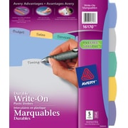 Avery® Durable Plastic Write-On Dividers, 5 Tabs, Multi-colour, (16170)