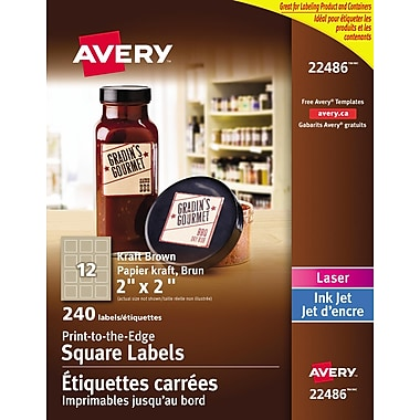 Avery® Print to the Edge Kraft Brown Square Labels, 2