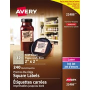 "Avery® Print to the Edge Kraft Brown Square Labels, 2"" x 2"", 240/Pack, (22486)"