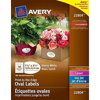 Avery® 22804 Étiquettes ovales imprimables jusqu'au bord, permanentes, blanches, glacées, laser/jet d'encre, 1-1/2