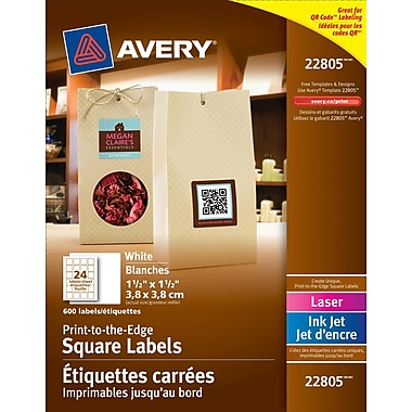 Avery® White Laser/Inkjet Permanent Print-to-the-Edge Square Labels, 1-1/2