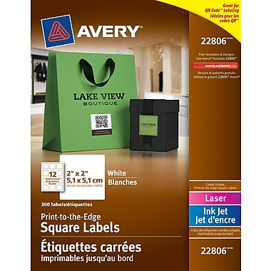 Avery® White Laser/Inkjet Permanent Print-to-the-Edge Square Labels, 2