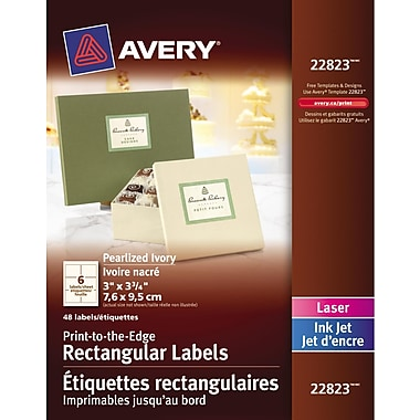 Avery® Pearlized Ivory Laser/Inkjet Permanent Print-to-the-Edge Rectangular Labels, 3