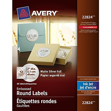 Avery® Silver Inkjet Embossed Round Labels, Permanent, 2
