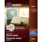 "Avery® Silver Inkjet Embossed Round Labels, Permanent, 2"" Diameter, 96/Pack, (22824)"
