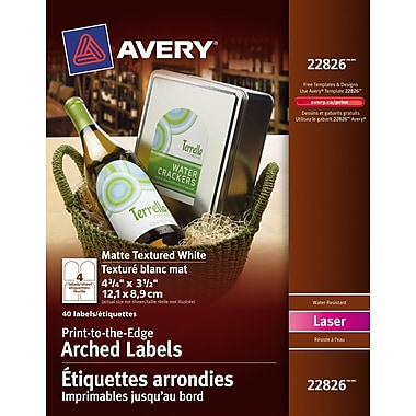 Avery®–Étiquettes texturées, arrondies, à impression jusqu'au bord, n°22826, permanentes, 4 3/4 po x 3 1/2 po, blanc, paq./40