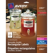 "Avery® White Laser/Inkjet Durable Removable Rectangular Labels, 4-3/4"" x 3-1/2"", 32/Pack, (22827)"