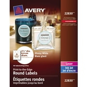 "Avery® Glossy White Round Labels, 2-1/2"" Diameter, 90/Pack, (22830)"