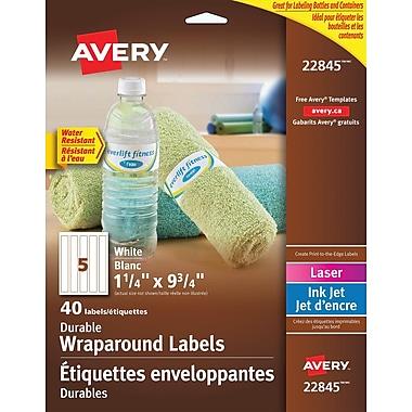 Avery® – Étiquette enveloppante durable, blanc, 9 3/4 po x 1 1/4 po, paq./40 (22845)