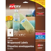 "Avery® Durable White Conformable Wraparound Label, 9-3/4"" x 1-1/4"", 40/Pack, (22845)"