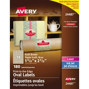 "Avery® Print to the Edge Kraft Brown Oval Labels, 1-1/2"" x 2-1/2"", 180/Pack, (24487)"