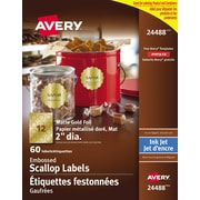 "Avery® Gold Foil Scalloped Labels, 2"" Diameter, 60/Pack, (24488)"