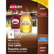 "Avery® Print to the Edge Oval White Glossy Labels, 3"" x 4"", 40/Pack, (24489)"