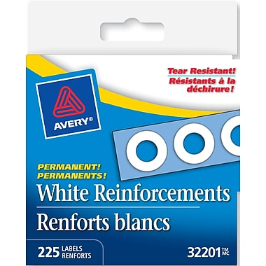 Avery® White Self-Adhesive Permanent Reinforcement Labels, 1/4