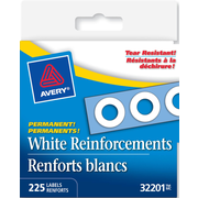 "Avery® White Self-Adhesive Permanent Reinforcement Labels, 1/4"", White, 225/Pack (32201)"