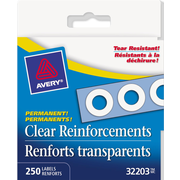 "Avery Clear Self-Adhesive Permanent Reinforcement Labels, 1/4"", Clear Mylar, 250/Pack, (32203)"