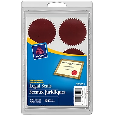Avery® Red Legal Seals, 1-15/16