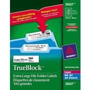 """Avery® 35027 Étiquettes de classement très grandes TrueBlock, blanches, laser/jet d'encre, 3-7/16"""" x 15/16"""", 360/pqt"""