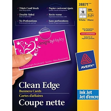 Avery® Clean Edge Inkjet Business Cards, 3-1/2